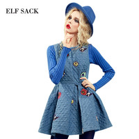 Elf SACK eely galaxy winter elegant female thermal one-piece dress basic tank dress