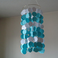 Tiffany blue and white circle paper Mobile. Wedding, Engagement, Baby shower, Baby nursery, Crib mobile. Birthday. Choose Your Colors!