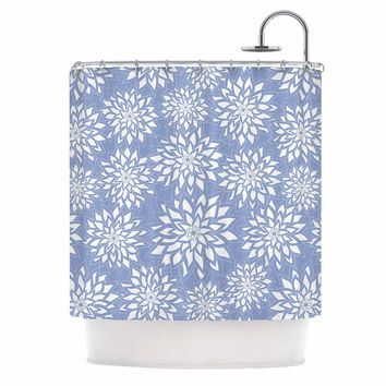 "Julia Grifol ""Blue Garden"" Aqua White Shower Curtain"