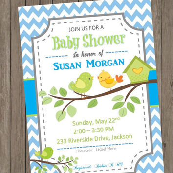 DIY PRINTABLE Baby Shower Invitation Blue and White Chevron with Birds For a Boy Baby or can be changed to Sip and See