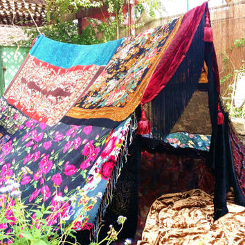 Boho tent teepee Gypsy Queen MADE TO ORDER Hippiewild silk hippy scarf hippie patchwork canopy Wedding Decor photo prop backdrop Bohemian