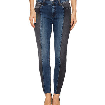7 For All Mankind Ankle Skinny w/ Piecing & Cut Off Hem in Indigo Sulphur