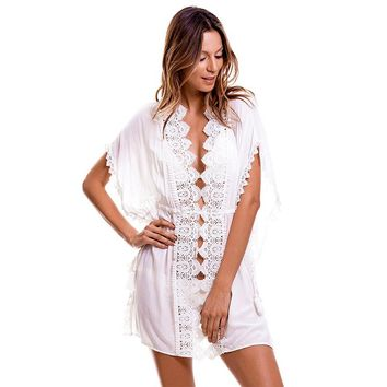 Pareo Beach To Swimsuit Coverup Kaftan Wear Cover Up Beachwear Ladies 2018 New Cotton Neck Strap Loose Big Yards Skirt High