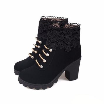 Lace Fringe-Zipper Ankle Boot's