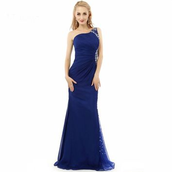 Long Fitted Prom Dresses Mermaid Elegant Beaded One shoulder Evening Dress Royal blue