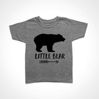Little Bear Shirt - Gray Youth Tee - Sister Bear T-shirt - Brother Bear Tshirt