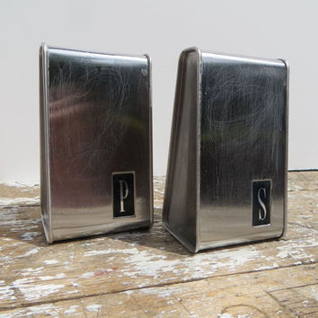 Mid Century Modern Salt and Pepper Shakers Metal Shakers