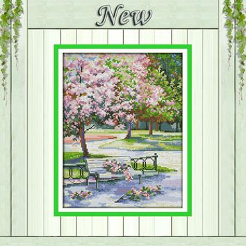 The spring in the park decor painting counted print on canvas DMC 14CT 11CT Chinese Cross Stitch Needlework Sets Embroidery kits