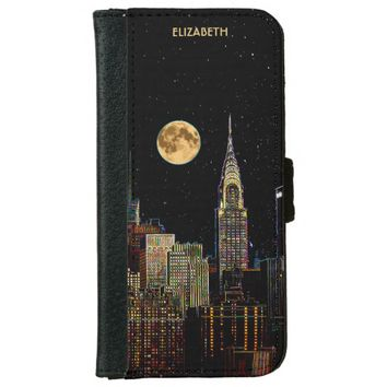 New York Skyline At Night With Full Moon Wallet Phone Case For iPhone 6/6s