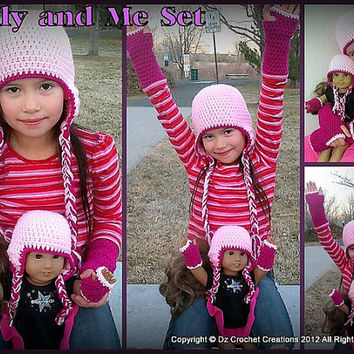CROCHET PATTERN American Girl Doll and Girls Earflap beanie & Hand Warmer Set INSTANT Download / Crochet earflap beanie and hand warmer set