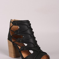 Distressed Strappy Cutout Chunky Heeled Booties