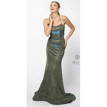 Metallic Green Gold Long Prom Dress with Spaghetti Straps