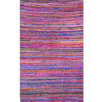 "3.6"" X 6.5"" ft. Pink Recycled Fabric Chindi Rug/Floor Mat on RoyalFurnish.com"