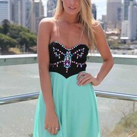 Strapless Chiffon Dress with Jewel Embellishment