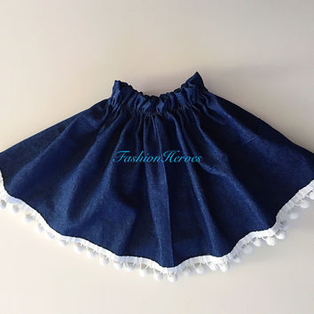 Blue Denim Ruffle Top Jeans Skirt with Pom-poms