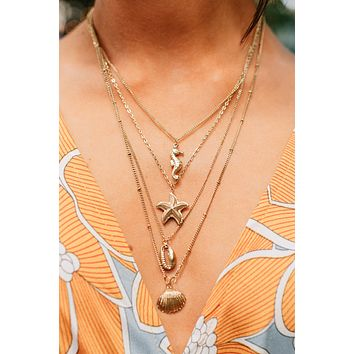 Shellfish Reasons Layered Necklace (Antique Gold)