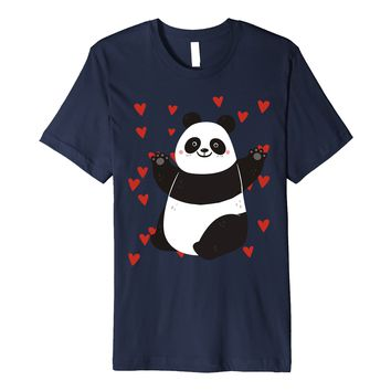 Funny Valentines Day Shirt I Love Cute Panda Heart Kids