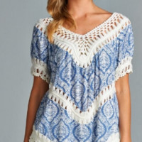 Walking to the Beat Crochet Printed Top - Jodifl - Blue