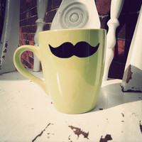 Moustache mug in lime green by Mr Teacup  hand drawn by MrTeacup