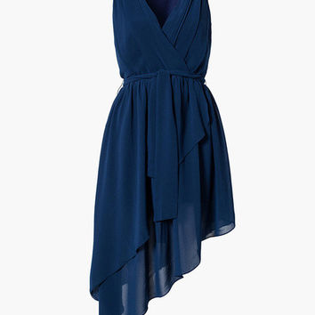 Blue Sleeveless V-Neck Tiered Asymmetrical Dress