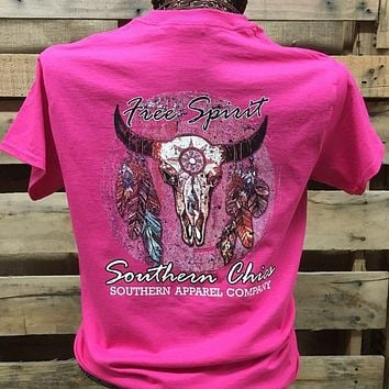 Backwoods Born & Raised Free Spirit Deer Skull Feathers Girlie Bright T Shirt