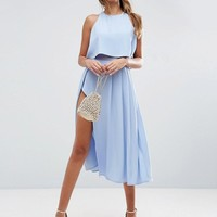 ASOS Crop Top Wrap Split Midi Dress at asos.com