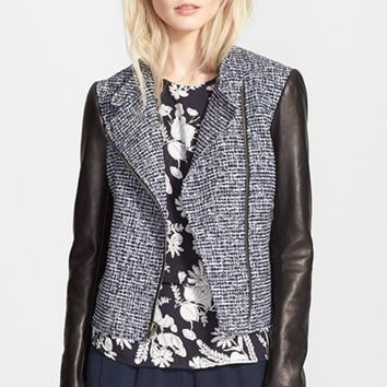 Women's Theory 'Kinde' Leather Sleeve Boucle Moto Jacket,