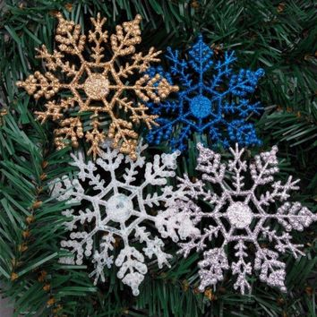 12Pcs/set Plastic Glitter Snowflake Christmas Ornaments Xmas Tree Hanger Garland