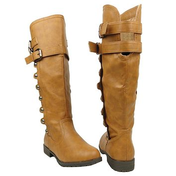 Womens Studded Knee High Riding Boots Light Brown