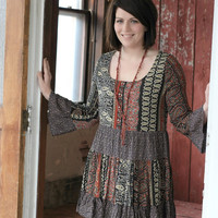 Multi Colored Peasant Style Dress
