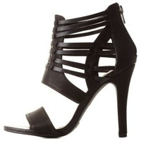 Black Huarache Caged Strappy Heels by Charlotte Russe