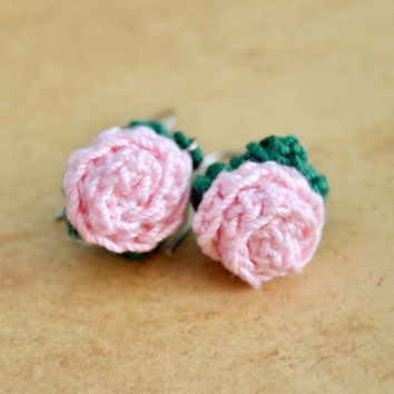 Pink Flower Crochet Rose Earrings, Floral Nature, Womens Teen Kids Spring Summer Jewelry, Wife Girlfriend Mom Sister Daughter Friend Gift