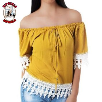 New fashion lace top women short sleeve top women Yellow