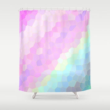 "Shower Curtain - Pastels - 71"" by 74"" Home Decor, Bathroom, Bath, Dorm, Girl, Decor, Romantic, Pastel, Soft"
