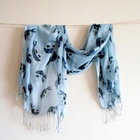 SCARF // Light blue scarf, Pirate skull Scarf, Infinity Loop Scarf, Prite skull, Wide Scarf,Textile scarf, Timeless, cotton scarf,Neckwarmer