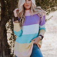 Pastel Rainbow Mockneck Tunic Sweater
