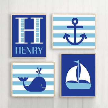 BOY Nautical Wall Art, Hampton Whale Sailboat Anchor, Baby Nursery Decor, Blue Bedroom, Nautical Theme Decor Canvas or Prints Set of 4