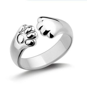 ESBONEJ Sterling Silver Plated Cat Paw Ring