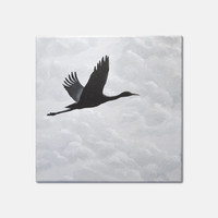 """Flying Bird Painting, Original Nature Art, Flying Crane Painting, Grey Clouds, Bird Silhouette in Cloudy Sky, Gray, Black, Acrylic 10"""" X 10"""""""