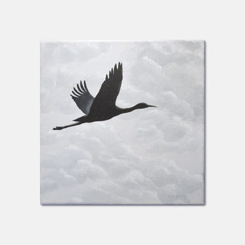 "Flying Bird Painting, Original Nature Art, Flying Crane Painting, Grey Clouds, Bird Silhouette in Cloudy Sky, Gray, Black, Acrylic 10"" X 10"""