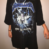 Metallica Vintage Oversized Tshirt Ride The Lightning 1984 Tour Shirt