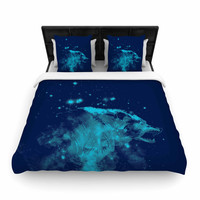 "Federic Levy-Hadida ""Predation Instinct II"" Blue Wolf Woven Duvet Cover"