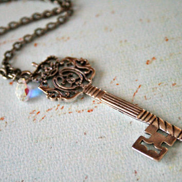 Antique Regal Crown Skeleton Key Necklace by orangejuniper on Etsy