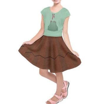 Kid's Vanellope Von Schweetz Wreck-It Ralph Inspired Short Sleeve Dress