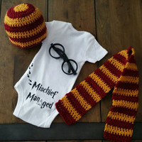 Harry Potter photo prop set. Including Onesuit, glasses, hat, and scarf. Gryffindor costume. Hogwarts wizard muggle