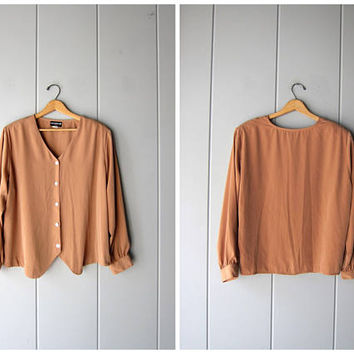 Minimal Blouse Camel Brown Button Up Top Beige Slouchy Blouse Collarless Modern Top Long Sleeve Casual Blouse Boxy Oversized Womens XL Large