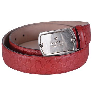 Gucci Plaque Dog Tag Buckle Red Micro Guccissima Belt GG Embossed 322293 Size 38-95