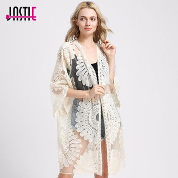 Jastie Sunflower Kimono Cover up Summer Cardigan floral Crochet vestidos de Fiesta Embroidery Long Kimono and Half Sleeves