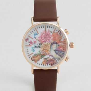 Reclaimed Vintage Inspired Birds Leather Watch In Brown 36mm Exclusive to ASOS at asos.com
