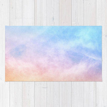 Pastel Baby Pink Rug, Girls Nursery Rug, Rainbow Area Rug, Baby Blue Bedroom Rug, Pink Watercolor Area Rug, Tie Dye Area Rug, Sky Clouds Rug